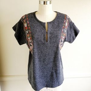 THML |Wool Dolman with Tribal Print Embroi…